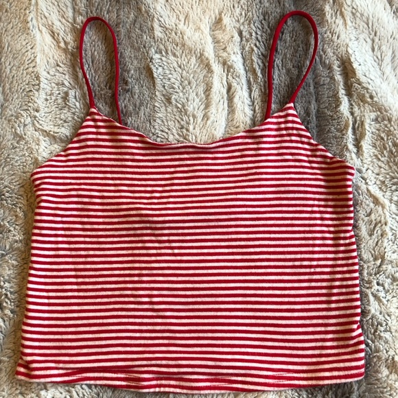 8f8aadbb78f PacSun Tops | Striped White And Red Crop Top Tank | Poshmark
